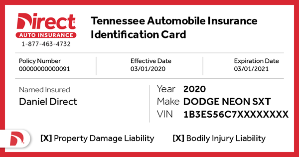 front of Tennessee Proof of Insurance Card